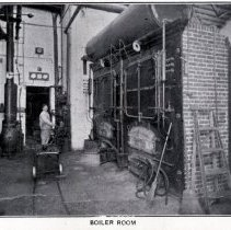 Image of Reference image: interior view of boiler room at John Schmalz's Sons' Model Bakery, Clinton & Eighth Sts., Hoboken, no date, ca. 1901-1909. - Print, Photographic