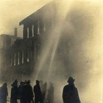 Image of Sepia-tone photo of exterior view of a fire at John Schmalz's Sons' Model Bakery, Clinton & Eighth Sts., Hoboken, no date, [January 30, 1909.] - Print, Photographic