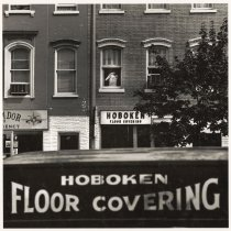 Image of B+W photo of Hoboken Floor Covering truck & store front on Washington St., Hoboken, no date, [1976]. - Print, Photographic