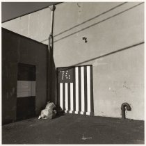 Image of B+W photo of a spirit of ''76' flag painted on wall, Hoboken, no date, [1976]. - Print, Photographic