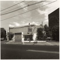 Image of B+W photo of J-G Auto, repair garage, street number 56 on unnamed street, Hoboken, no date, [1976]. - Print, Photographic