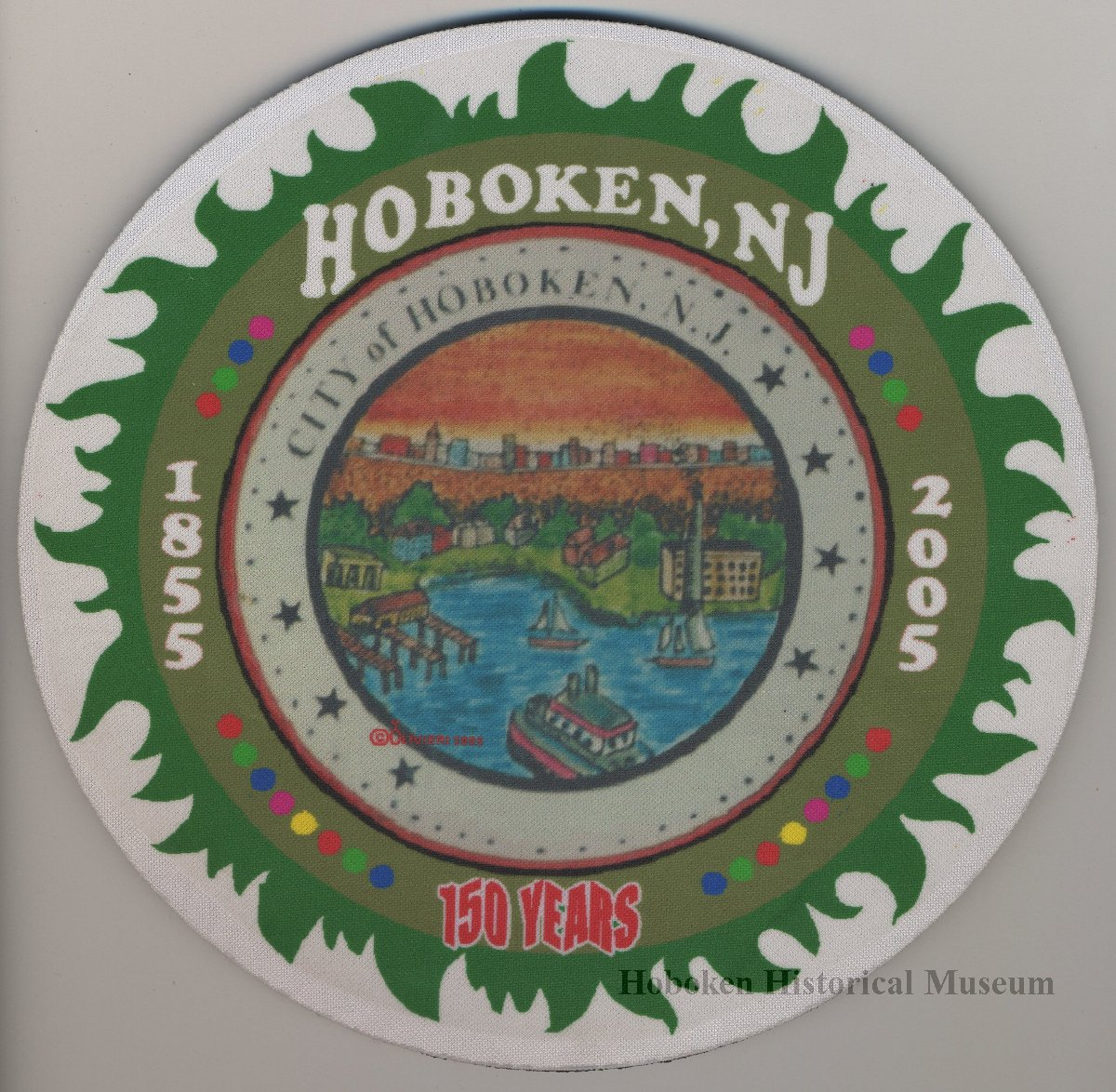 150th anniversary of hoboken image of computer mouse pad city of hoboken seal and text hoboken n j 1855