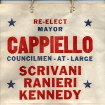 Image of Shopping bag with political advertising: Re-Elect Mayor Cappiello. Hoboken, no date, ca. 1985-85. - Bag