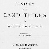 Image of History of Land Titles in Hudson County, N.J. 1609-1871. - Book