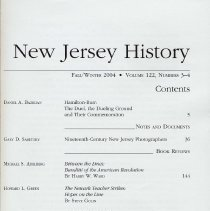 Image of New Jersey History. Fall/Winter 2004. Volume 122, Numbers 3-4. - Periodical