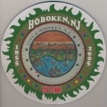 Image of Computer mouse pad with City of Hoboken seal and text Hoboken, N.J. 1855-2005, 150 Years. - Pad, Mouse