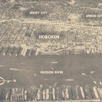 Image of Printed b+w aerial photo of Hoboken as published on page 12 in newspaper PM, vol 1, no. 40, New York, August 12, 1940. - Photograph, Illustration