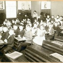 Image of Digital image of a school classroom with young students and teacher, Hoboken, no date, ca. 1900-10. - Print, Photographic