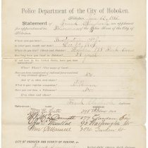 Image of Police Department application statement of Frank Claypoole, Jan. 12, 1887, Hoboken, Feb.14, 1887.