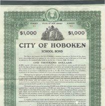 Image of Digital image, printed document: City of Hoboken, School Bond, $1000. Issued Jan 1, 1918. - Bond