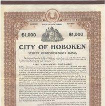 Image of Digital image, printed document: City of Hoboken, Street Reimprovement Bond, $1000. Issued July 1, 1916. Matures July, 1, 1917. - Bond