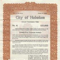 Image of Digital image, printed document: City of Hoboken, School Promissory Note, $25,000. Issued June 1, 1920. Matures October 1, 1920. - Bond