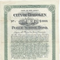 Image of Digital image, printed document: City of Hoboken, Public School Bond, $1000. Issued March 1, 1897. Maturing March 1, 1917. - Bond