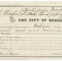 Image of Digital image: Bill for assessment for Street Improvements, Washington Street, City of Hoboken, to The Episcopal (Trinity Church property, March 2, 1857. - Form