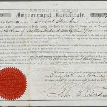 Image of Digital image: Commissioners to Drain Low Lands in the City of Hoboken...to Robert Hawkins, Improvement Certificate for $129.82 for lumber, Feb. 26, 1867. - Certificate