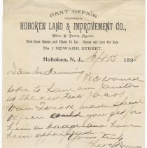 Image of Digital image: note to a Mr. Fanning from Theodore C. Dunn, Hoboken Land & Improvement Co., Sept. 15, 1898 re appointed of a janitor as special officer. - Correspondence