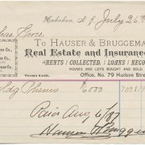 Image of Digital image: Billhead of Hauser & Bruggeman, Real Estate and Insurance Agents, 79 Hudson St., Hoboken, July 26, 1887. - Receipt