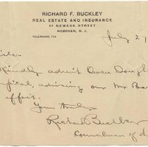 Image of Digital image: holographic note signed to a Sister [Saint Mary Hospital, Hoboken] from Richard Buckley, July 27, 1909 - Letter