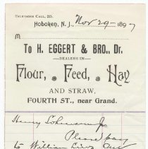 Image of Digital image: billhead of H. Eggert & Brother, Dealers in Flour, Feed, Hay and Straw, Fourth St., near Grand, [Hoboken], Nov. 29, 1897. - Order, Pay