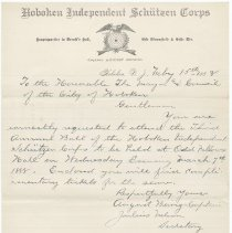 Image of Digital image: letter to Mayor & City Council from Hoboken Independent Schutzen Corps, Feb.15, 1888 re invitation to Third Annual Ball. - Letter
