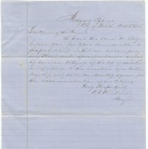 Image of Digital image, document: Letter from Mayor Cornelius V. Clickener to City Council re erection of Market Square, Hoboken, October 3, 1855.  - Documents
