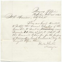 Image of Digital image, document: Note by Mayor John R. Johnson notifying City Clerk to call a Council meeting, Hoboken, November 20, 1860.  - Documents