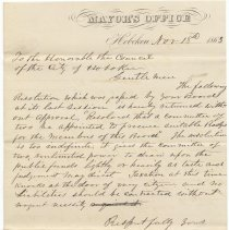 Image of Digital image, document: Veto by Mayor Lorenzo W. Elder of City Council resolution to procure badges for Council, Hoboken, November 18, 1863. - Documents