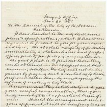 Image of Digital image, document: Letter by Mayor Frederick B. Ogden to City Council re plans & specifications for a new City Hall, Hoboken, Nov. 28, 1866. - Documents