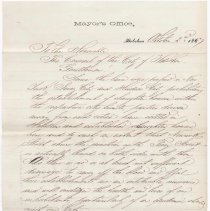 Image of Digital image, document: Letter by Mayor Frederick W. Bohnstedt to City Council re ordinance prohibiting slaughterhouses, Hoboken, Oct. 2, 1867. - Documents