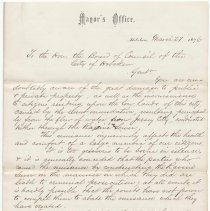 Image of Digital image, document: Letter by Mayor Joseph Russell to City Council re water drainage problem, Ravine Sewer, Hoboken, March 27, 1876. - Documents