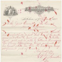 Image of Digital image, document: Letter by Mayor Herman L. Timken to Joint Committee re members unable to attend meeting, Hoboken, Sept. 19, 1884. - Documents