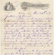 Image of Digital image, document: Letter by Mayor Edward R. Stanton to City Council re retention of monies raised for County Parks, Hoboken, Nov. 23, 1891. - Documents