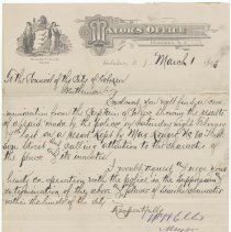 Image of Digital image, holographic document: Mayor William Ellis letter to Council on police report of raid on saloon owned by Max Kruger, March 1, 1893. - Correspondence