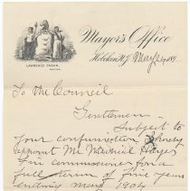 Image of Digital image, document: Letter by Mayor Lawrence Fagan to City Council re appointment of a fire commissioner, Hoboken, May 24, 189[9]. - Documents