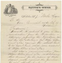Image of Digital image, document: Letter by Mayor Adolph Lankering to City Council re school bonds, Hoboken, Nov. 26, 1902. - Documents
