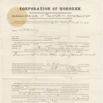 Image of Digital image, signed document: Corporation of Hoboken Declaration of Sale, on the 15th day of September 1877 for Taxes of 1876. - Documents