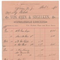 Image of Digital image: Statement from Von Ojen & Segelken, Wholesale Grocers, Corner of Hudson Place and River Street, Hoboken, March 2, 1891. - Bill of Sale