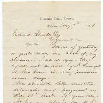 Image of Digital image: Letter to Edward Charles from W.W. Shippen, Agent, Hoboken Land & Improvement Company on Hoboken Ferry Office letterhead, August 7, 1858. - Letter
