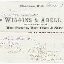 Image of Digital image: Bill to Water Commissioners from Wiggins & Abell, 77 Washington St., Hoboken, June 21, 1872. - Receipt