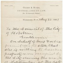 Image of Digital image: Letter to City Council from Ogden & Nivens, Counsellors-at-Law, 15 Newark St., Hoboken, August 30, 1881. - Letter