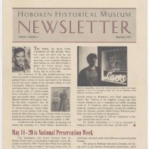 Image of Hoboken Historical Museum Newsletter [Second Series], Volume 1, Number 2, May - June 1995. - Periodical