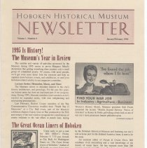 Image of Hoboken Historical Museum Newsletter [Second Series], Volume 1, Number 6, January - February 1996. - Periodical