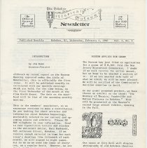 Image of Hoboken Historical Museum Newsletter [First Series], Volume 1, No. 1, February 4, 1987. - Periodical