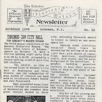 Image of Hoboken Historical Museum Newsletter [First Series], Volume 2, No. 22, December, 1988. - Periodical