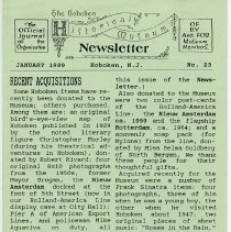 Image of Hoboken Historical Museum Newsletter [First Series], Volume 2, No. 23, January, 1989. - Periodical