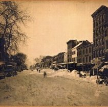 Image of Black-and-white photo of Washington Street after the March Blizzard of '88, Hoboken, March 1888. - Print, Photographic