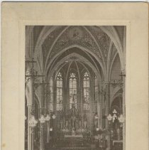 Image of Blessing card with photo interior of Our Lady of Grace Church, Hoboken, no date, ca. 1950's - 1960's. - Card, Altar