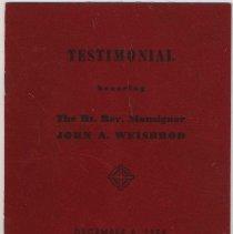 Image of Program: Testimonial honoring The Right Reverend Monsignor John A. Wiesbrod, Pastor Saints Peter & Paul Church, Union Club, Hoboken, Dec. 6, 1954. - Program