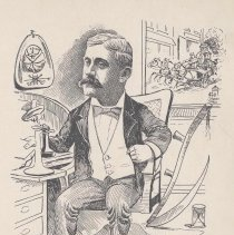 "Image of Caricature of Ivins D. Applegate, [Hoboken, n.d., ca. 1907-1916]. From album, ""Just for Fun""; archives catalogue 2005.018.0001. - Print"