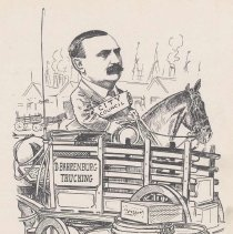 """Image of Caricature of D. Bahrenburg, [Hoboken, n.d., ca. 1907-1916]. From album, """"Just for Fun""""; archives catalogue 2005.018.0001. - Print"""